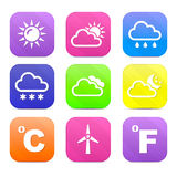 Set of vector icons, weather Stock Image