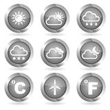 Set of vector icons, weather. silver Royalty Free Stock Photos