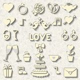 Set of vector icons for wedding or Valentines day Royalty Free Stock Photo