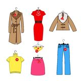 Set of vector icons of women's clothes Royalty Free Stock Photography