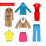 Set of vector icons of women's clothing for your design. Colorful Royalty Free Stock Photo