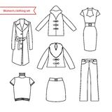 Set of vector icons of women's clothing for your design. Outline women's clothing icons Stock Photo