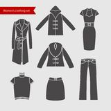 Set of vector icons of women's clothing for your design. Stock Photos