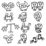 Set of vector icons of the zodiac signs. Cute Cartoon black and white characters with rectangular faces for coloring Stock Images