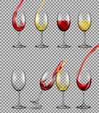 Set of vector illusions of transparent glass glasses with red and white wine. royalty free illustration