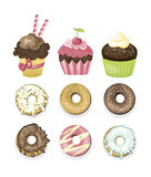 Set of vector illustrated sweets. Donuts and cupcakes.. Different delicious. Chocolate, vanilla, strawberry and cherry yummy bakery. Cute vector Stock Photo