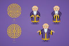Set of vector illustration Asian old man in national clothes in different poses. Ancient symbol of longevity and wealth. Character stands. Hands are placed on Royalty Free Stock Photo