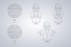 Set of vector illustration Asian old man in national clothes in different poses. Ancient symbol of longevity and wealth. Character stands. Hands are placed on Royalty Free Stock Image