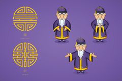 Set of vector illustration Asian old man in national clothes in different poses. Ancient symbol of longevity and wealth. Character stands. Hands are placed on Stock Images