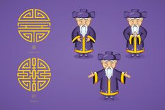 Set of vector illustration Asian old man in national clothes in different poses. Ancient symbol of longevity and wealth. Character stands. Hands are placed on Royalty Free Stock Photography
