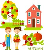 Set of vector illustration autumn season with tree, children and house in flat style. Stock Photography