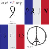 Set of vector illustration banners. We will not forget title. Pray for France. Pray for Paris. Terrorist attack. World peace sign Royalty Free Stock Photography