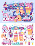 Set vector illustration business selling different kinds ice cream sale food with machine, meal on wheels clown. Stock set vector illustration business selling stock illustration