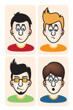 Set of vector illustration cartoon avatar portraits Royalty Free Stock Photos