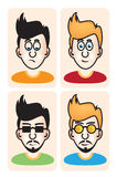 Set of vector illustration cartoon avatar portraits Royalty Free Stock Images