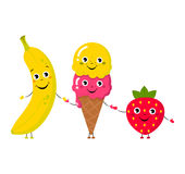 Set of Vector illustration of cartoon funny ice creams and banana Stock Photos