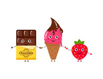 Set of Vector illustration of cartoon funny ice creams and strawberry and chocolate Royalty Free Stock Photography