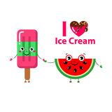 Set of Vector illustration of cartoon funny ice creams and watermelon Stock Photography