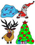 Set vector illustration for Christmas and New Year. Santa Claus with a bag of gifts, deer  and Christmas tree Royalty Free Stock Photo