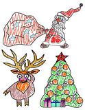 Set vector illustration for Christmas and New Year. Santa Claus with a bag of gifts, deer  and Christmas tree Royalty Free Stock Photography