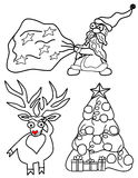Set vector illustration for Christmas and New Year. Santa Claus with a bag of gifts, deer  and Christmas tree Stock Images