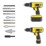 Set of vector illustration cordless drill royalty free illustration