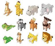 Set vector illustration of cute isometric animals. stock illustration