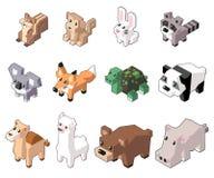 Set vector illustration of cute isometric animals. royalty free illustration