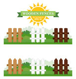 Set of vector Illustration of different seamless wooden fences with green grass Royalty Free Stock Photos