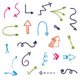 Set vector illustration of doodle color arrows on white background Stock Photos