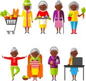 Set of vector Illustration a group of old woman in different situations. Royalty Free Stock Image