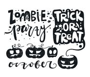 Set vector illustration for Happy Halloween. Zombie. Trick or treat. Pumpkin. Royalty Free Stock Images