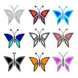 Set of vector illustration of insect, colorful butterflies Stock Image