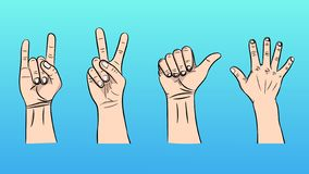 Vector illustration of the isolated gestures by hands. A set of a vector illustration of the isolated gestures by hands royalty free illustration