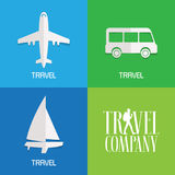 Set of vector illustration, logos for travel agency Royalty Free Stock Photo