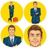 Set of vector illustration, mens pop art round avatars icons Stock Photo