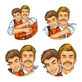 Set of vector illustration, mens pop art round avatars icons Royalty Free Stock Photo