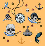 Set vector illustration with a nautical theme Stock Photography
