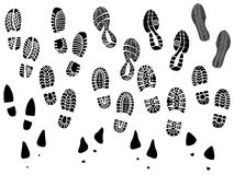 Set of vector silhouettes boots print. Royalty Free Stock Image