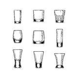 Set of vector illustration  stemware Stock Photos