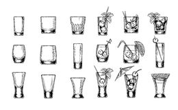 Set of vector illustration stemware. Set of vector illustration of stemware. Glasses for alcohol. Engraving style Royalty Free Stock Photography