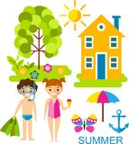 Set of vector illustration summer season with tree, children and house in flat style. Landscape with four seasons concept in flat style Royalty Free Stock Photography