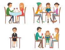 Set of vector illustration on the theme of people in restaurant Royalty Free Stock Images