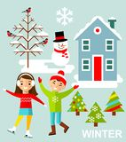 Set of vector illustration winter season with tree, children and house in flat style. Royalty Free Stock Photos