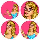 Set of vector illustration, womens pop art round avatars icons Stock Photography