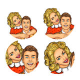 Set of vector illustration, womens pop art round avatars icons Royalty Free Stock Photography