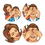Set of vector illustration, womens pop art round avatars icons Stock Image