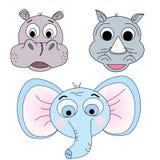 Set of vector illustrations of animal heads. Hippopotamus, rhinoceros, elephant. Cartoon print Stock Images