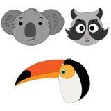 Set of vector illustrations of animal heads. Koala, raccoon, toucan. Cartoon print Stock Photo