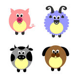 Set of vector illustrations of animals. Royalty Free Stock Image